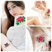 紋身貼防水女持久仿真性感花玫瑰韓國胸部背花臂遮疤痕小清新牡丹多色小屋