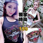 克妹Ke-Mei【AT52969】日本jp獨家自訂龐克虎頭水鑽羅紋坦克背心洋裝