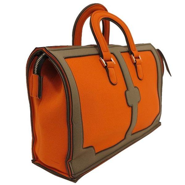 【LEGHILA】KUSO版 G-BAG 逗趣款 手提公事包(橘色+橄欖色) ORANGE/TURTLEDOVE