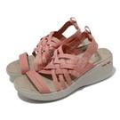 Skechers 涼拖鞋 Pier-Lite 女 粉 橘 厚底 增高 楔型 編織 涼鞋【ACS】 163271CRL