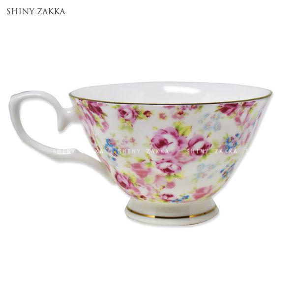 馬克杯-日本進口 粉色玫瑰咖啡杯盤組(1入)-玄衣美舖