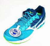 [陽光樂活]MIZUNO 美津濃 WAVE RIDER21女寬楦 慢跑鞋  輕量 透氣 耐磨 高避震 J1GD180607藍