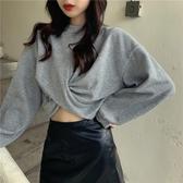 2020春款新款寬鬆韓版超火圓領長袖上衣灰色短款露臍衛衣女潮ins 貝芙莉