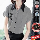 黑翻領線條十字繡花片襯衫(2色)M~4XL【992322W】【現+預】☆流行前線☆