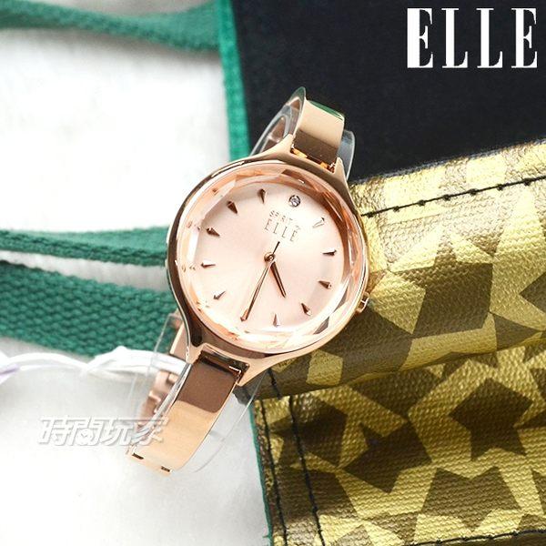 ELLE 原廠公司貨 時尚尖端 12點晶鑽精美女錶 纖細手鍊 防水手錶 玫瑰金 ES21017B03X【時間玩家】