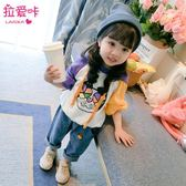 兒童洋氣衛衣韓版女童連帽上衣2018春秋新款女寶寶長袖秋裝寬松潮