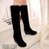 雪地靴女冬 2018新款高筒靴臺坡跟長靴保暖冬靴棉鞋女靴