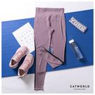 Catworld 側撞色提臀彈力運動褲【12002021】‧S-XL