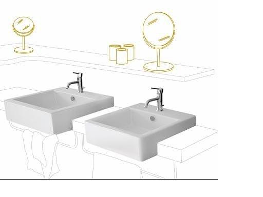 【麗室衛浴】義大利原裝WHITE STONE QUAD系列 半崁盆04401  (現貨供應)