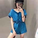 休閒運動套裝女2020夏季新款時尚韓版短褲運動套裝寬鬆跑步兩件套