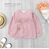 韓版甜美蕾絲雕花公主澎澎袖上衣 縮口 落肩 毛圈內裡 粉色 女上衣 女童裝 秋冬長袖