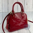 BRAND楓月 LOUIS VUITTON LV 路易威登 M90174 紅色 漆皮 ALMA BB 艾瑪包 手提 斜背