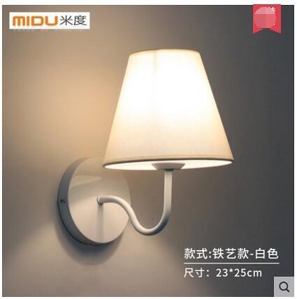北歐壁燈現代簡約創意客廳燈具臥室床頭燈陽台過道布藝牆壁燈(鐵藝款-白色)