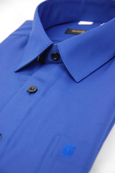 【金‧安德森】藍色斜紋吸排長袖襯衫