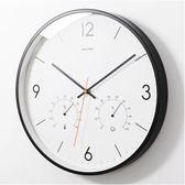 黑色14英寸現代簡約靜音掛鐘客廳臥室辦公室時鐘圓形