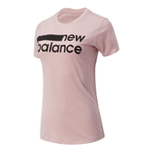 New Balance 女裝 短袖 慢跑 DRY 橫條LOGO 乾爽 粉 黑【運動世界】AWT01158SP1