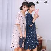 睡裙女夏純棉短袖韓版甜美清新睡衣