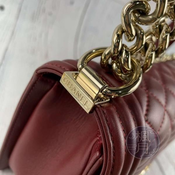BRAND楓月 CHANEL 香奈兒 22開 深紅色 紫紅色 小羊皮 菱格紋 淡金釦 BOY25 斜背包 肩背包