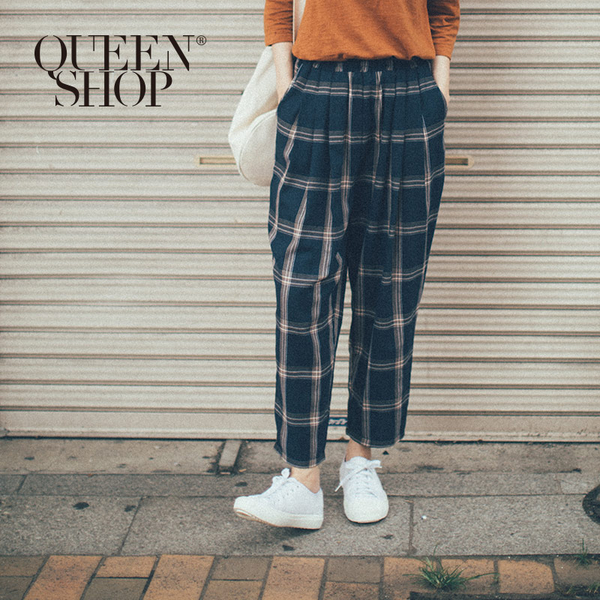 Queen Shop【04101362】配色格紋鬆緊長褲*現+預*