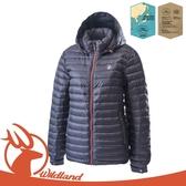 【Wildland 荒野 女 700FP時尚輕量羽絨外套《亮黑》】OA62105/輕羽絨外套/保暖外套/連帽外套