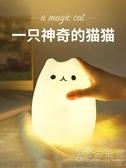 七彩硅膠燈減壓臥室床頭喂奶小夜燈充電創意夢幻可愛貓拍拍燈 聖誕節全館免運