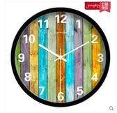 小鄧子歐式創意木紋掛鐘 時尚客廳掛錶現代靜音田園簡約石英鐘錶(10英寸)