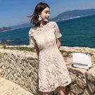 洋裝 韓版 婚禮小禮服 蕾絲短袖連身裙 花漾小姐【現貨】