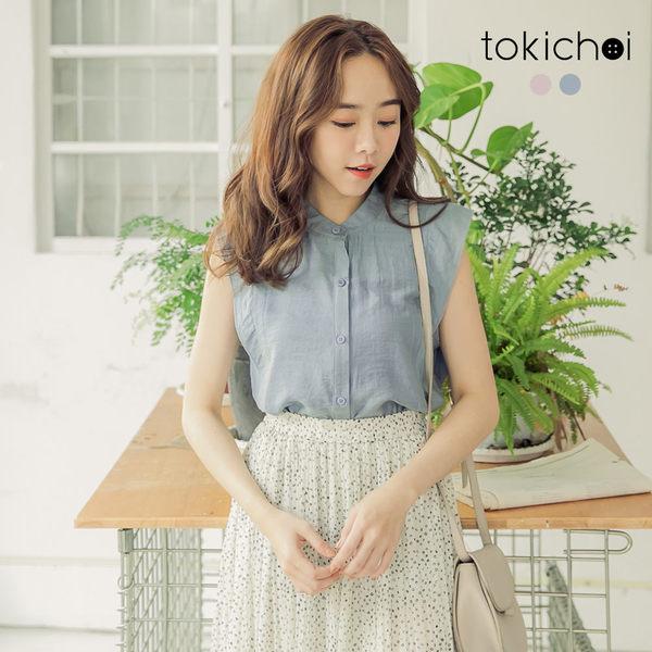 東京著衣-tokichoi-清爽無印微高領排釦棉麻上衣-S.M.L(190234)