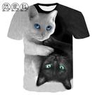 初秋貓咪3DT恤男女學生個性動物立體圖案印花衣服3d短袖男T恤情侶 星河光年