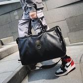 男士旅行包潮牌手提包大容量出差旅游行李袋復古pu單肩斜背包潮女