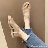 套趾涼鞋女仙女風新款時尚百搭水鑽一字帶平底鞋夏季女鞋 艾美時尚衣櫥