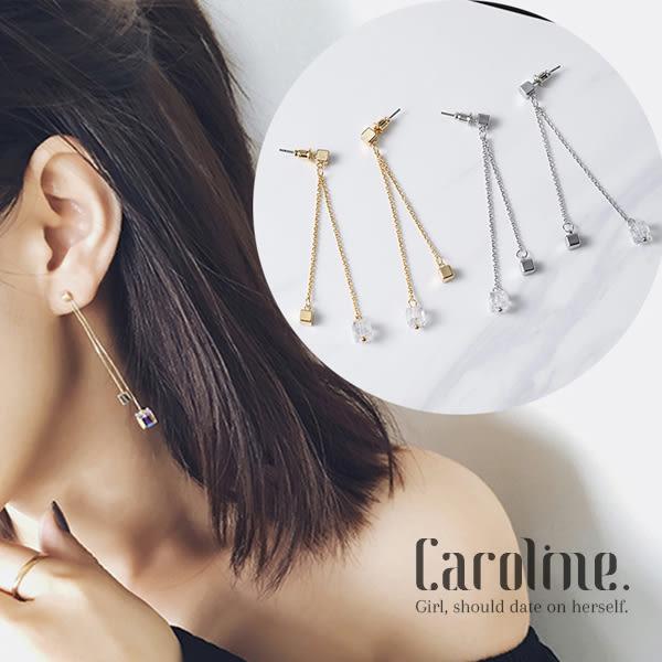 《Caroline》★韓國官網熱賣春夏新品彩水晶流蘇唯美優雅浪漫風格時尚流行耳環69438