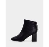 真皮短靴-R&BB牛皮*輕奢寶石方頭後拉鍊 歐美率性粗高跟靴-黑色/米白