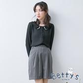 betty's貝蒂思 金屬拉鍊直線條壓褶短裙(深灰)