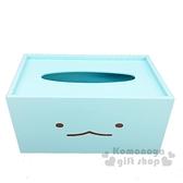 〔小禮堂〕角落生物 恐龍 木製滑蓋面紙盒《藍.大臉》紙巾盒.收納盒 4718733-24942