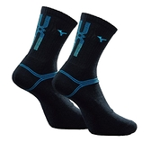 Mizuno Socks [32TX100792] 男 中筒襪 運動 厚底 排球 羽球 吸濕排汗 25-27cm 黑藍