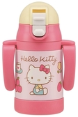 日本 Skater 不鏽鋼保溫吸管練習杯240ml(折疊式把手)Hello Kitty