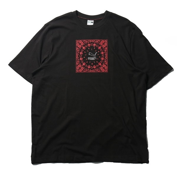 PUMA 上衣 短T OFFBEAT 黑 變形蟲 方形 圓領 休閒 男 (布魯克林) 53254301