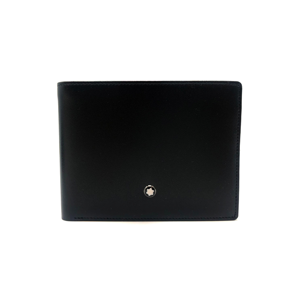 【台中米蘭站】全新品 MONTBLANC 萬寶龍滑面牛皮六卡對開短夾(14548-黑)