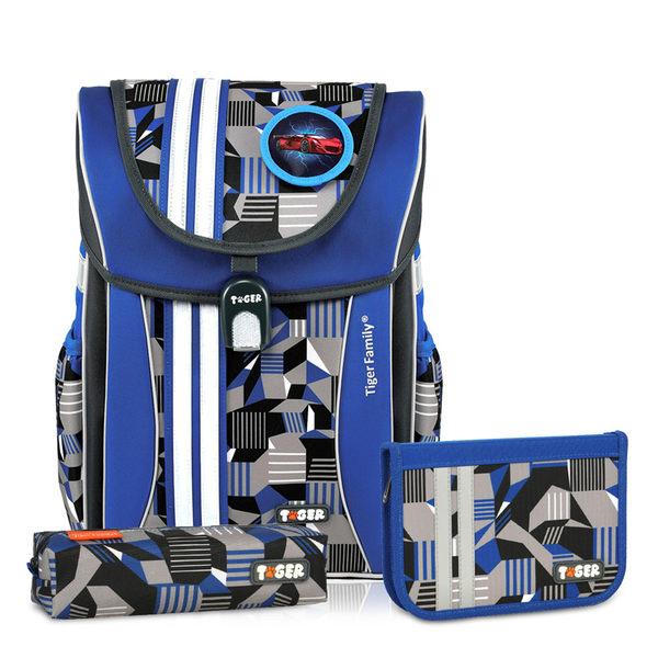 【磁扣設計】TigerFamily 學院風 超輕量護脊書包+文具袋+鉛筆盒 -- 灰藍幾何 NO.H2367