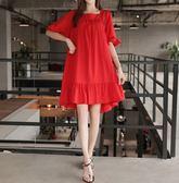 BabyShare時尚孕婦裝【APR8047】現貨 韓風 加大尺碼 孕婦上衣 孕婦裝 孕婦裙 大紅傘狀裙