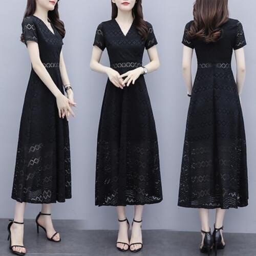洋裝 連身裙 中大尺碼 M-4XL新款蕾絲氣質鏤空長款修身顯瘦v領收腰a字長裙 NB13A-8997.胖胖唯依