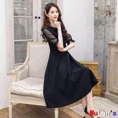 洋裝連身裙 洋裝 晚禮服 小黑裙 中長 連身裙 伊人閣