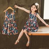 兒童洋裝 2020新款女童夏季彩條洋裝3四5六7八9十3-14周歲超仙兒童洋裝