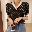 韓國東大門2021夏季新款復古波點雪紡V領顯瘦短袖襯衫上衣女ins潮