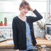 【Tiara Tiara】激安 排釦素面背雪紡拼接長袖罩衫外套(墨黑)