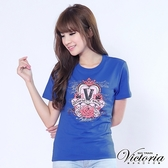 Victoria 玫瑰心鑽印花TEE-女-黑/瑞典藍