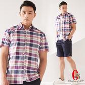 Christian 玩色彩格短袖休閒襯衫_藍紫格(RS606-55)