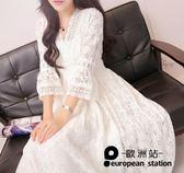 洋裝/五分袖女裝鏤空中袖女蕾絲連身裙「歐洲站」