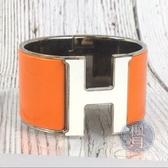 BRAND楓月 HERMES 愛馬仕 白x橘 H扣 寬版 手環 飾品 配件